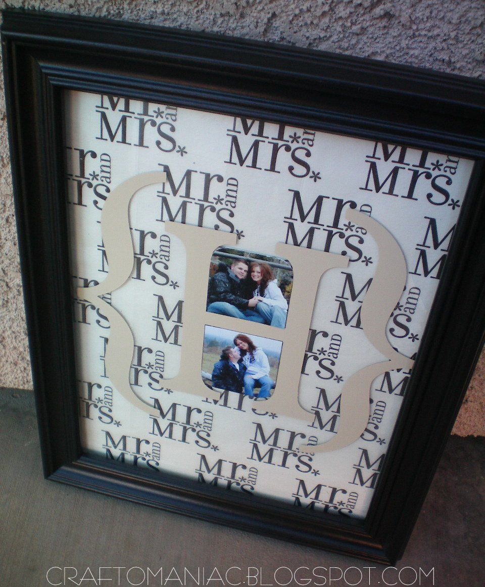 Ideas For Wedding Gift: DIY- Monogrammed Wedding Gift!
