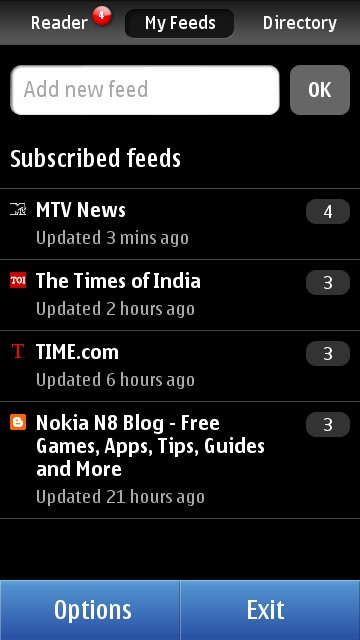 Nokia N8 Blog: Nokia Reader - RSS Feed Client for Symbian^3