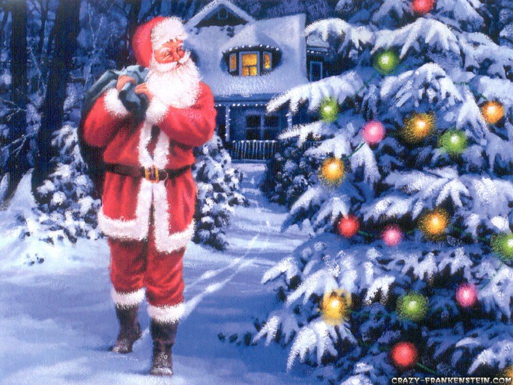 Animals Zoo Park Christmas Tree Santa Claus Wallpapers