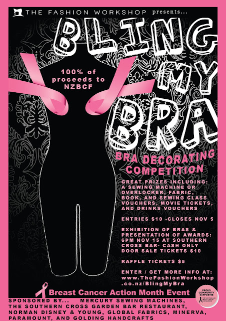 BLING MY BRA Competition \ Exhibition for Breast Cancer Action - event flyer