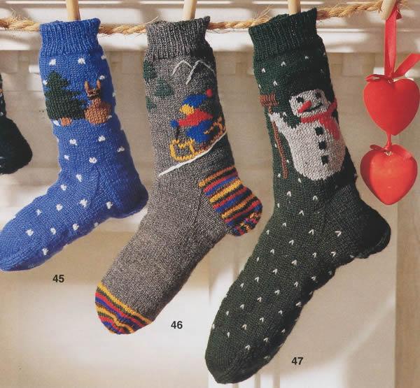 вязаные носки для всех новогодние носки
