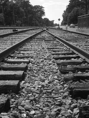 Railroad tracks in historic Collierville, just to the south of the