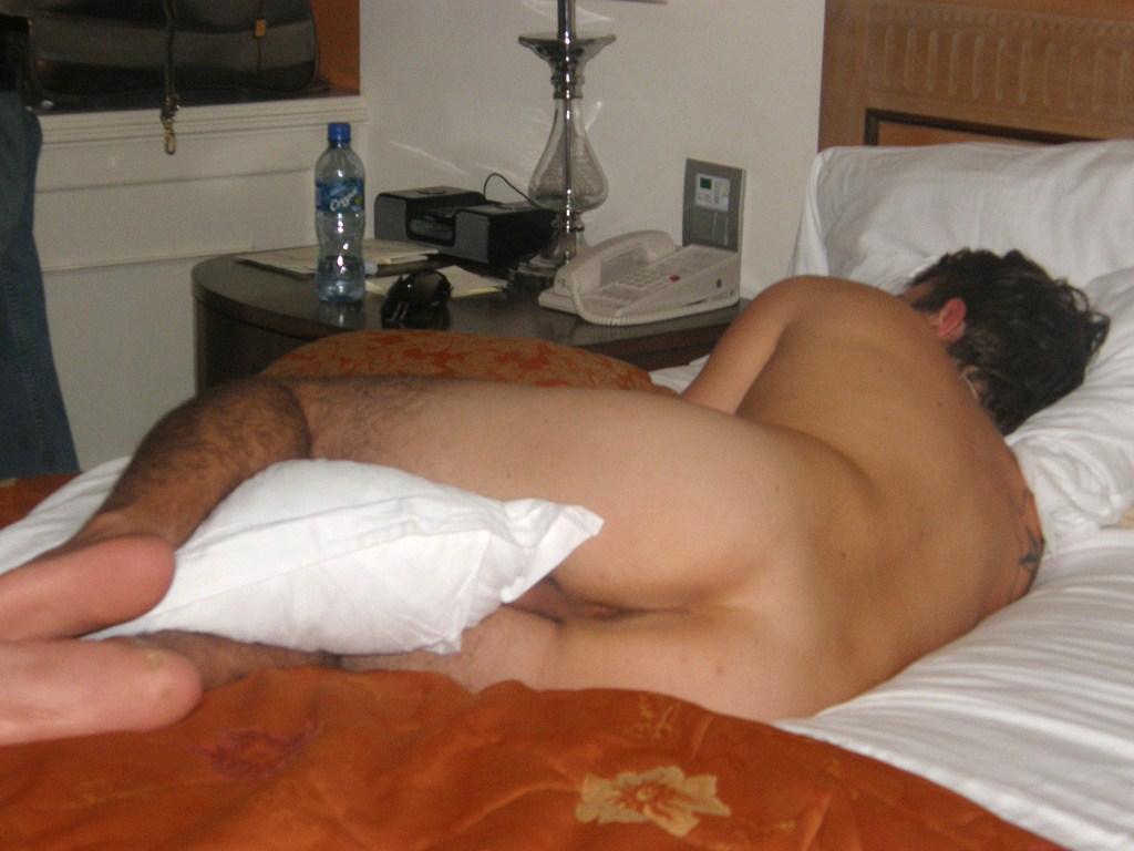 Girl strips guy in his sleep