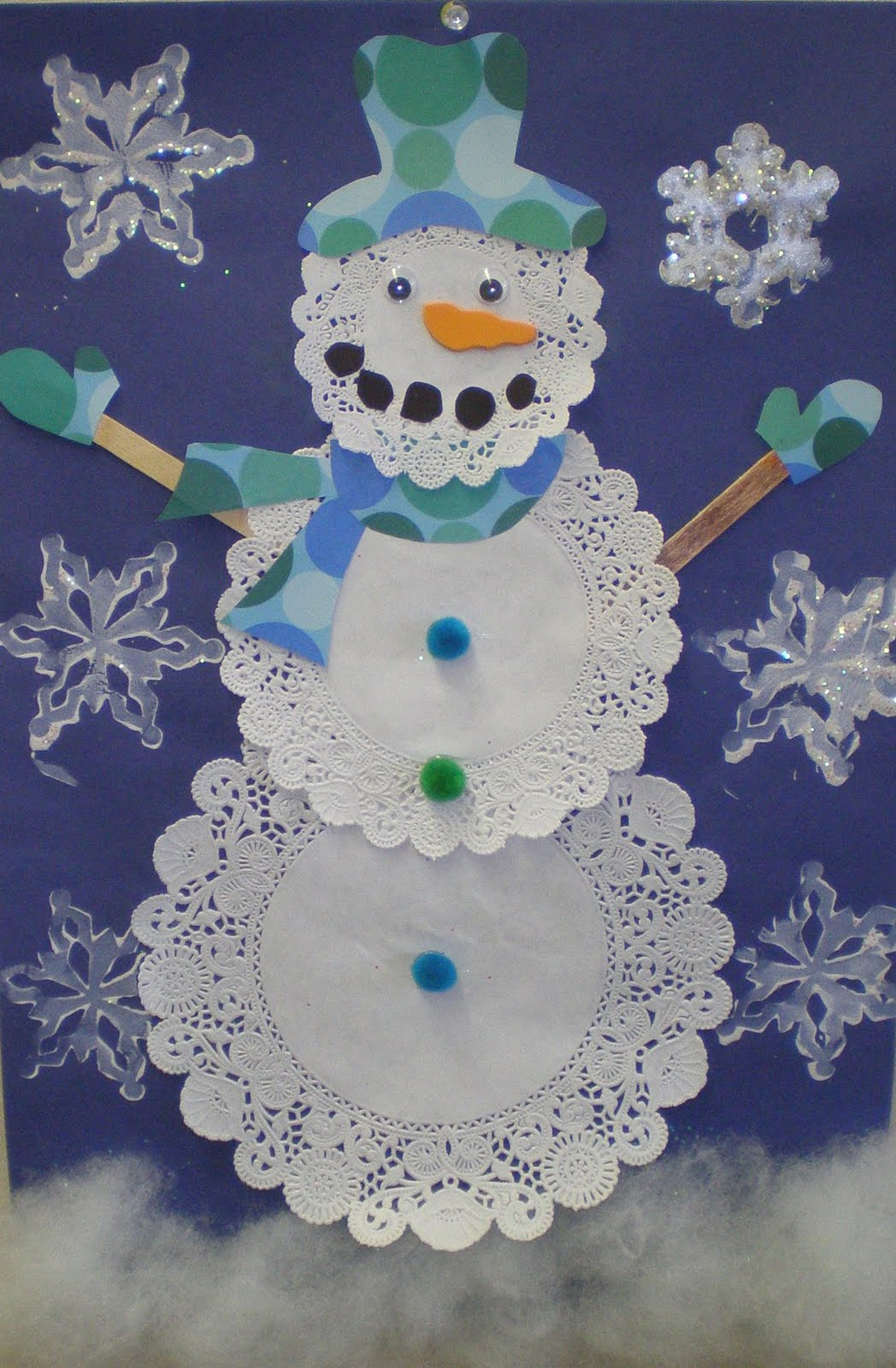 Easy Winter Kids Crafts That Anyone Can Make: Learn To Teach.Teach To Learn.: Doily Snowmen Grade 2