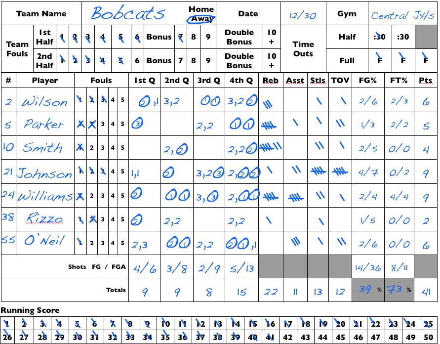 Hockey Scoresheet Excel