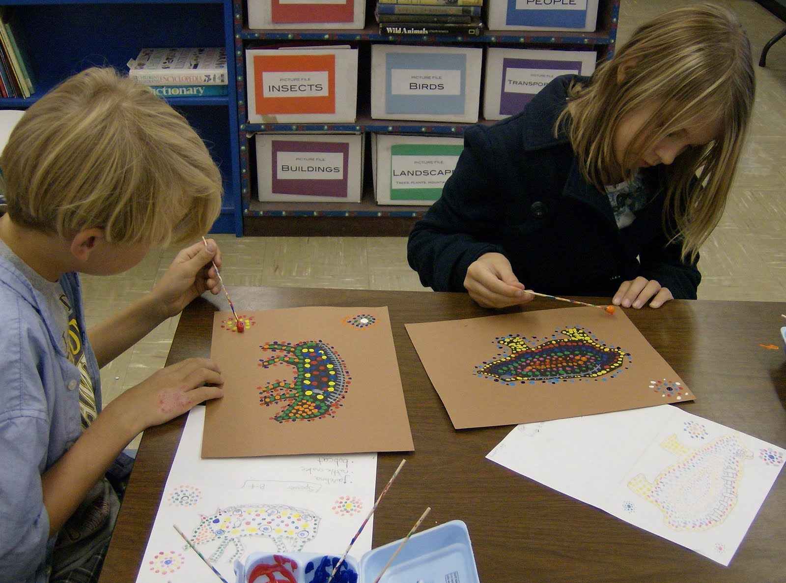 Zilker Elementary Art Class 4th Grade Aboriginal Dot