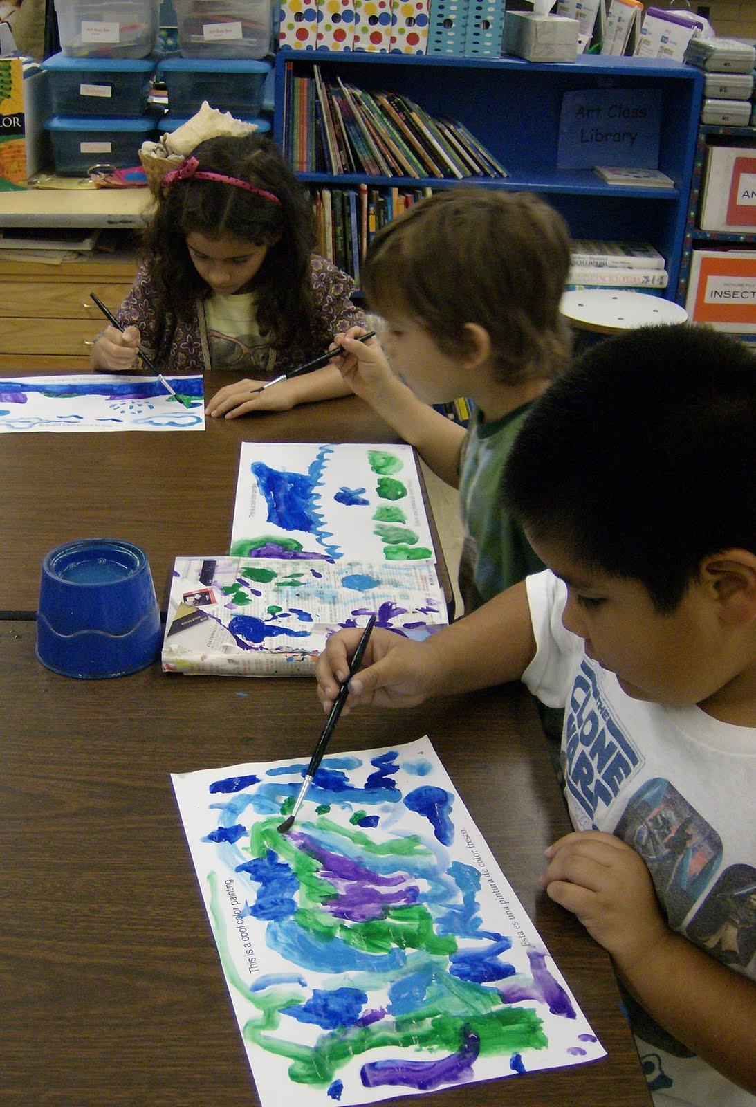 Zilker Elementary Art Class 1st Grade Cool Amp Warm Color Paintings