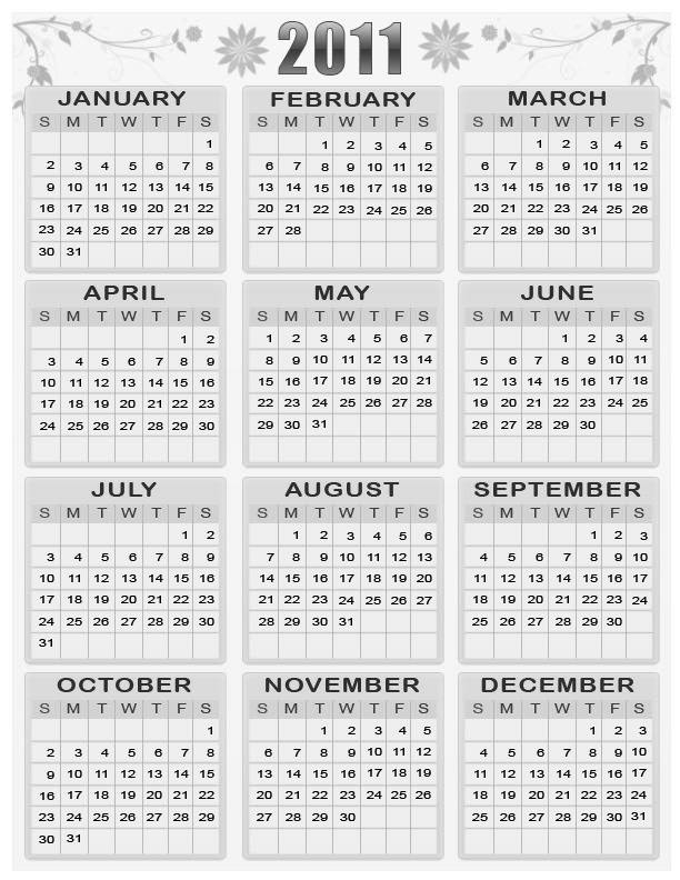 all stars bibliography yearly calendar 2011 printable