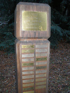 AIDS plaques at Peninsula AIDS Memorial Grove in Haddart Park, Woodside, CA