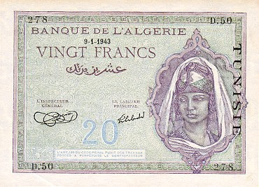 La monnaie (les billets) tunisienne à travers le temps TunisiaP17-20Francs-1943_f
