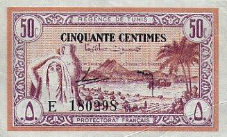 La monnaie (les billets) tunisienne à travers le temps TunisiaP54-50Centimes-1943-donatedTW_f