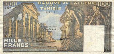 La monnaie (les billets) tunisienne à travers le temps TunisiaP29a-1000Francs-1950-donatedowl_f