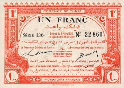La monnaie (les billets) tunisienne à travers le temps TunisiaP49-1Franc-1920-donatedowl_f