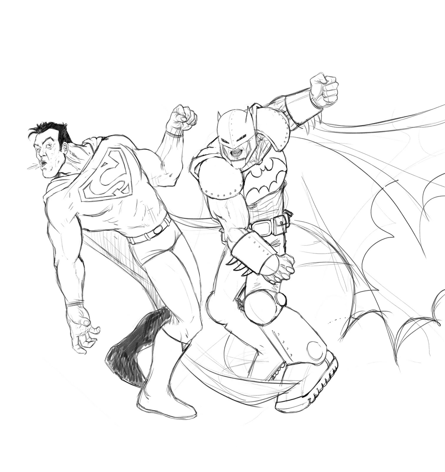 batman vs superman injustice coloring pages | EL DIBUJANTE AFICIONADO: BATMAN VS SUPERMAN LAPIZ