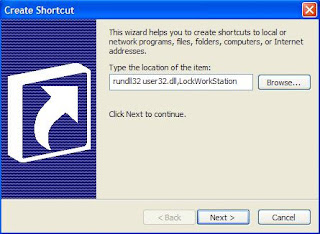 Create a Shrtcut to lock your System