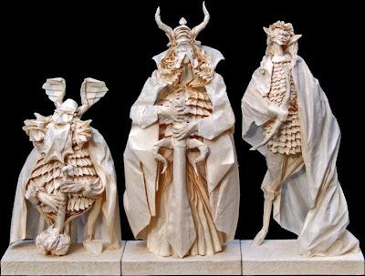 origami of dwarf Gimli,  Legolas the Elf, & Aragon Of Lord Of The Rings