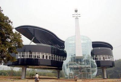 Buildings shaped like piano & violin (2) 2