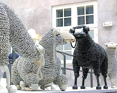 Creative Sheep Sculptures Made From Rotary Telephones (10) 6
