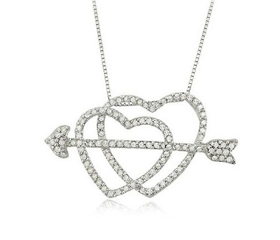 Diamond Hearts and Arrow Necklace