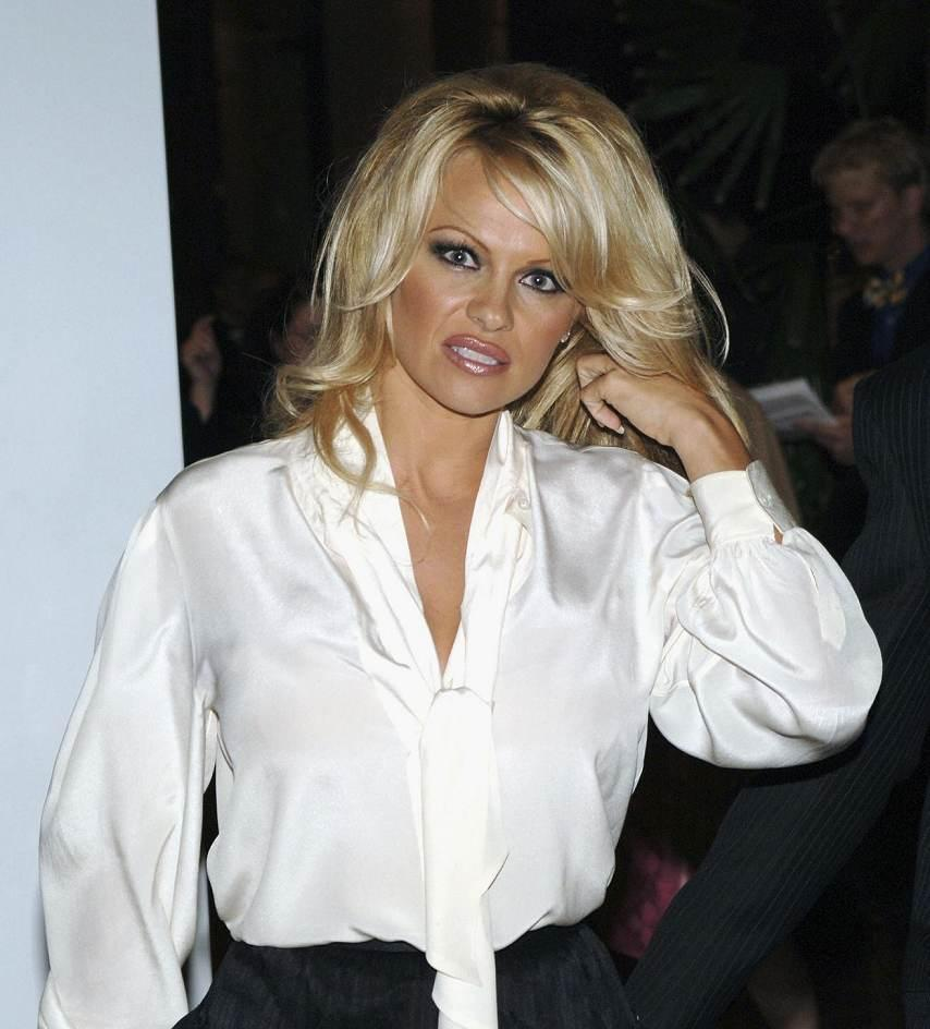 Preferred Ladies in Satin Blouses: pamela anderson - white satin blouse QI23