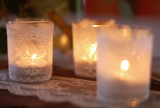Cute Lace-Covered Votive Candles. DIY