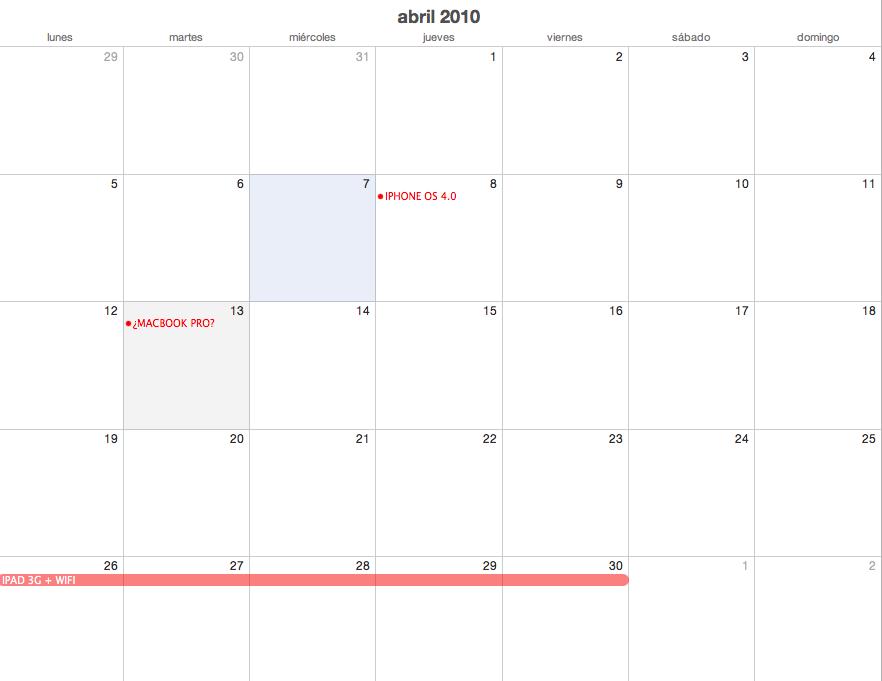 myimeblog: Calendario MAC Abril 2010