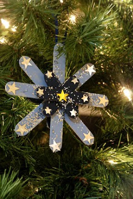 Popsicle stick snowflake Christmas ornament