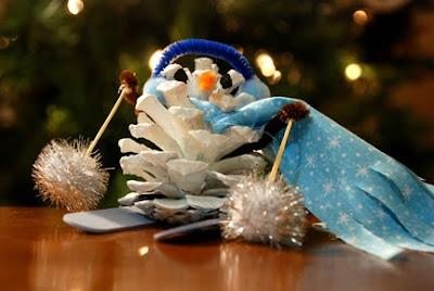 pine cone skiing snowman ornament