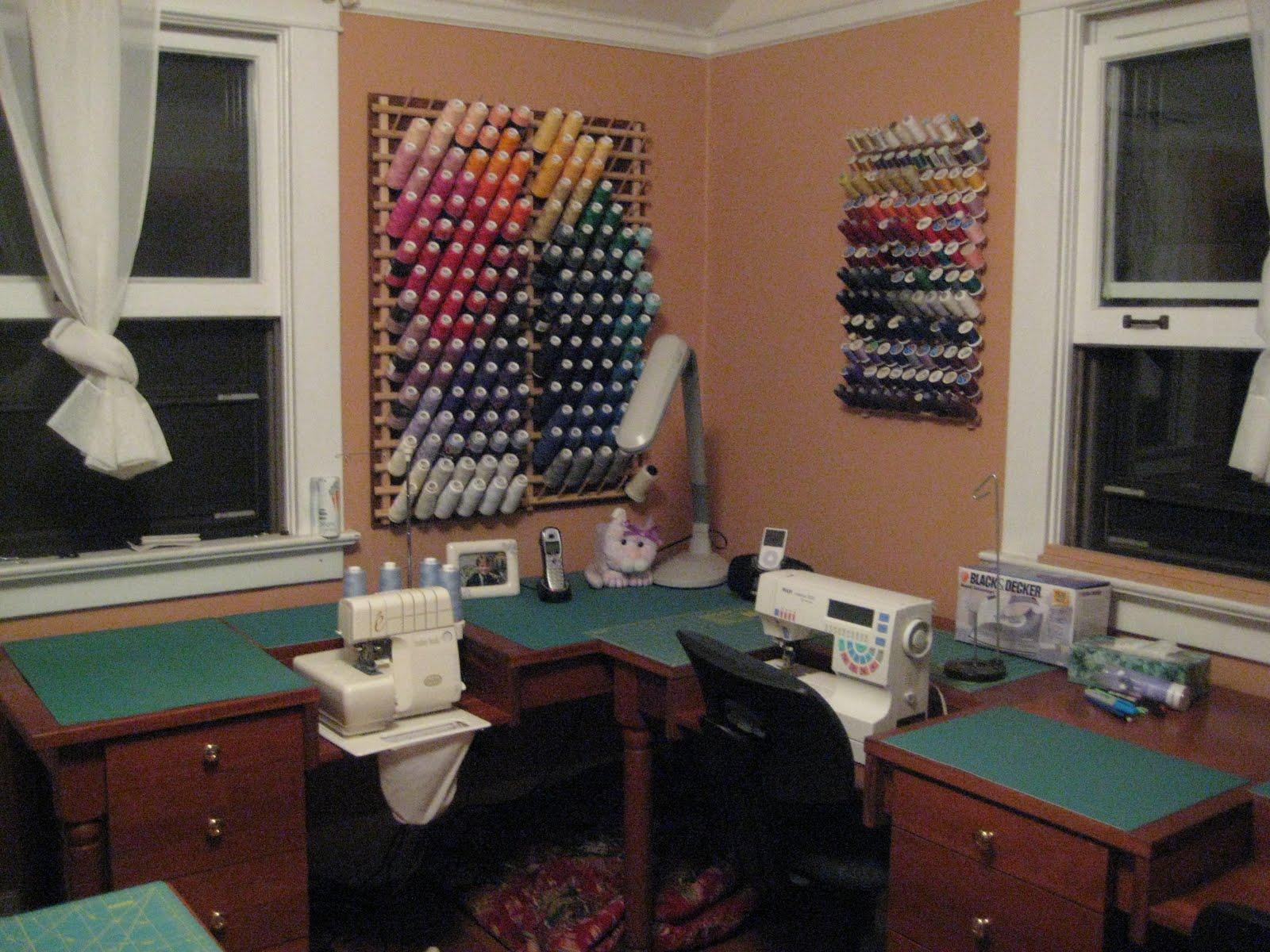 Laurelhurst Craftsman Bungalow Sewing Room Set Up