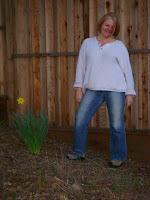 Sharon in the back yard.