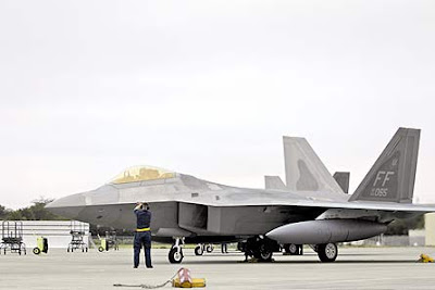 F-22 Raptor on flight deck
