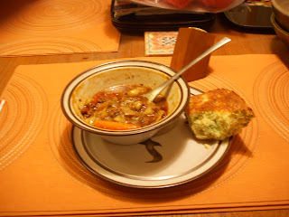 Helen's soup with broccoli cornbread