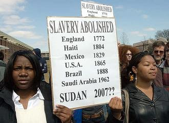 Many of the rally's participants were amazed to learn that slavery was legal in Saudi Arabia until 1962. Sudan's Arab colonizers have never given up their right to hold and traffic in slaves.