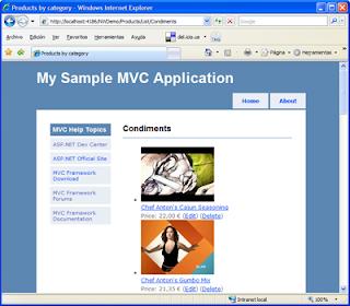 Captura de pantalla de la aplicación