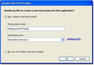 Diálogo de creación de un proyecto de tests