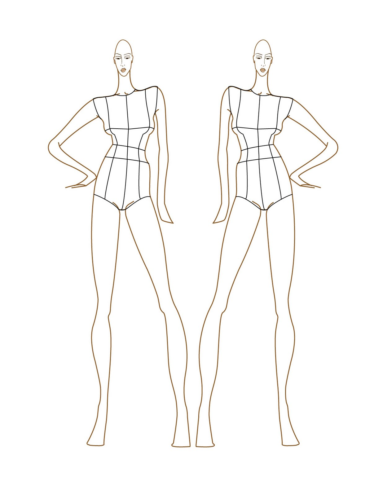 Fashion design sketches fashion croquis templates for Fashion designer drawing template