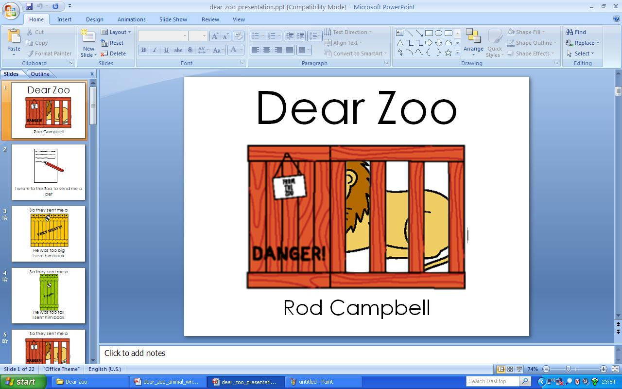 Senior Infants Dear Zoo