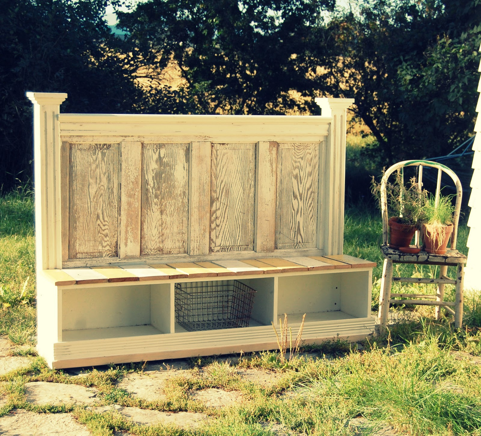 Antique Headboard Bench: Twig: Bench From A Repurposed Door Headboard