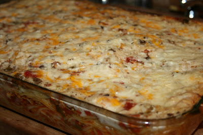 A perfect potluck casserole, this one feeds a crowd! Using a basic tomato based spaghetti meat sauce as a base with layer of spaghetti noodles & cheese, finished with a cream soup topping.