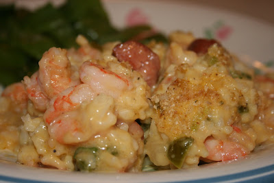 A scrumptious and super easy casserole of shrimp, rice, cream soups and The Trinity.