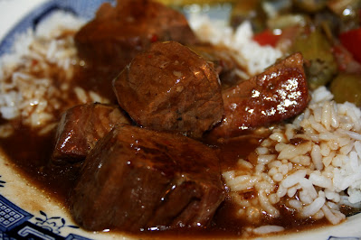 Braising beef, cut into meaty chunks, slow cooked in a well seasoned gravy and served over rice or egg noodles.