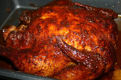 Turn a whole chicken into a wonderful home rotisserie style chicken, slow roasted, loaded with flavor and as tender as can be!