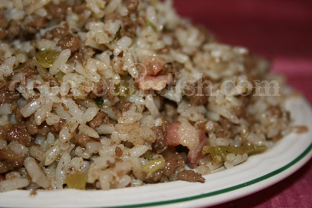 Authentic dirty rice usually contains gizzards and livers, or some other form of giblets, but don't fret if you don't like them. You can simply increase the beef or pork and still have a wonderful meal. Take it easy on the Cajun seasoning though - add a little, taste and adjust!