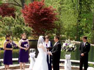 at any rate lee anne and jason had a beautiful wedding ceremony at 230 in the duke gardens amphitheater without rain but the wind was very gusty