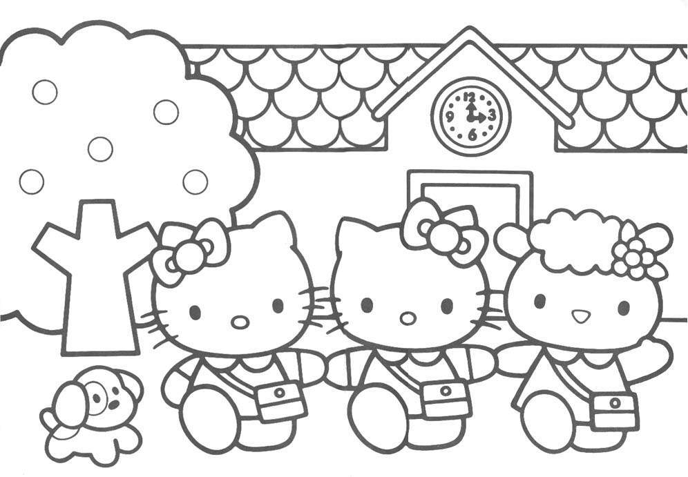 Hello kitty coloring pages free printable pictures for Coloring pages of hello kitty