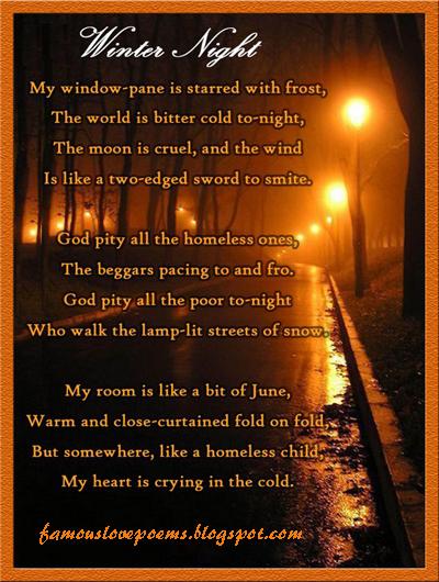 Famous Love Poems Winter Night Designed Love Poem