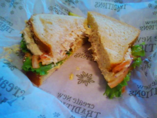 panera bread tuna salad sandwich on honey wheat