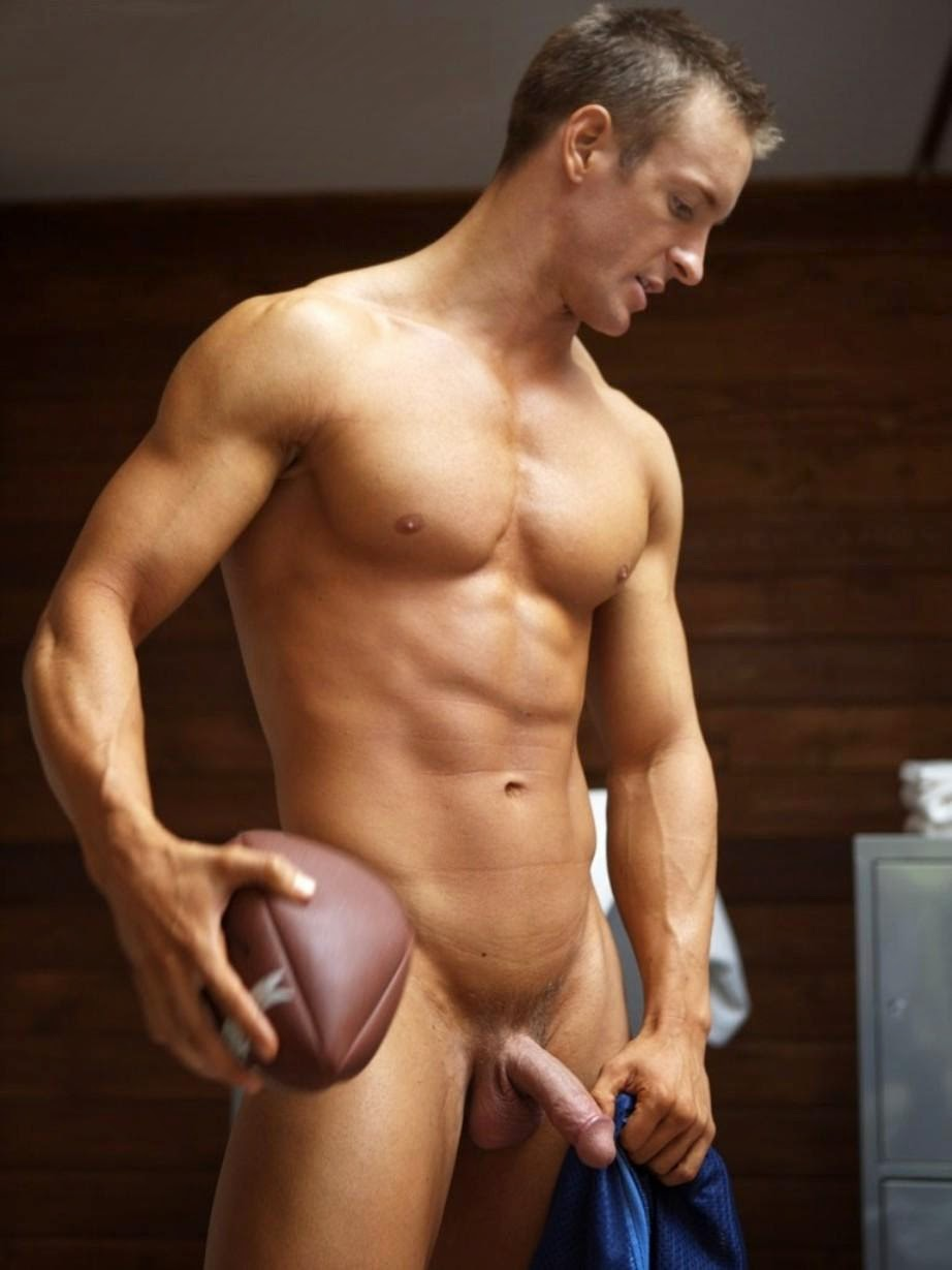 Naked male football players
