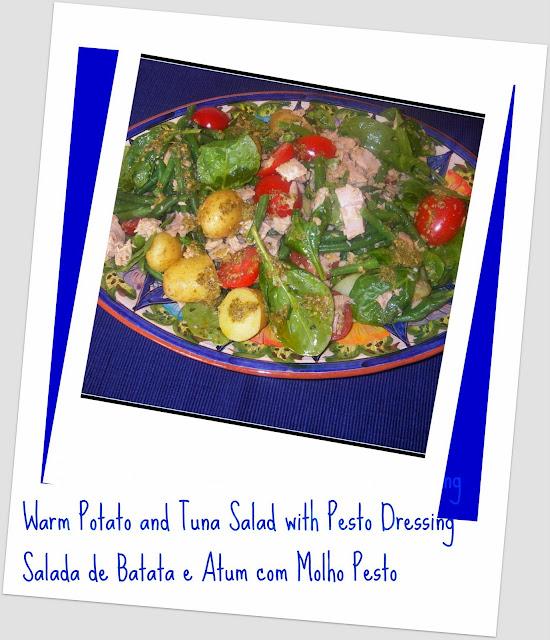 Warm Potato and Tuna Salad with Pesto Dressing / Salada de Batata e ...