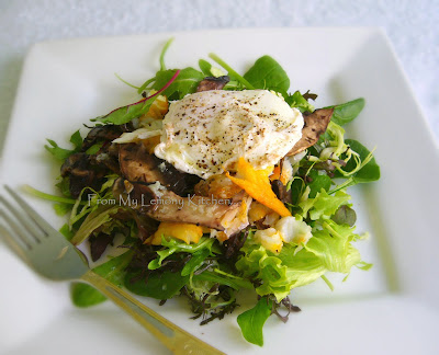 Poached egg and smoked trout salad